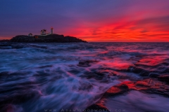Holiday Lights and Sunrise at Nubble Light